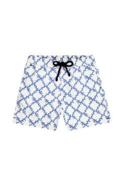 Swim With Mi Bambino Kids Swim Shorts Coral Check Blue White