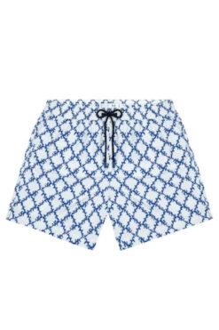 Swim With Mi South Beach Swim Shorts Coral Check Blue