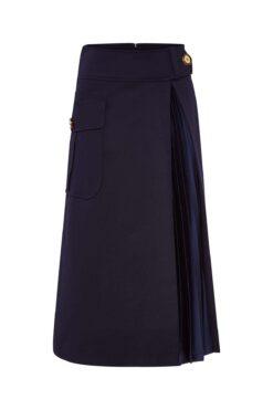 Maison Common Cotton Maxi Skirt With Plissee Detail Dark Blue