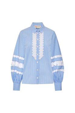 Maison Common Striped Cotton Stretch Statement Blouse Blue / White