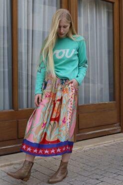 Me369 Joy Printed Midi Skirt Blooming