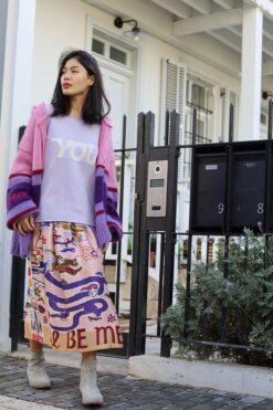 Me369 Joy Printed Midi Skirt Dragon