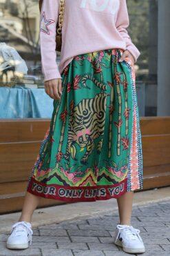 Me369 Joy Printed Midi Skirt Forest Spirit